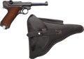 Handguns:Semiautomatic Pistol, German Mauser 1941 Dated Commercial Luger Semi-Automatic Pistolwith Leather Holster....