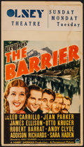 "Movie Posters:Adventure, The Barrier (Paramount, 1937). Midget Window Card (8"" X 14"").Adventure.. ..."