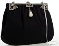 Luxury Accessories:Bags, Judith Leiber Black Satin Clutch Bag with Silver Hardware. ...