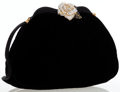 Luxury Accessories:Bags, Judith Leiber Black Velvet Clutch Bag with Crystal Flower Hardware. ...