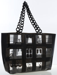Chanel Black Vinyl No. 5 Tote Bag