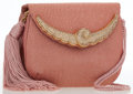 Luxury Accessories:Bags, Judith Leiber Pink Metallic Floral Organza Evening Bag. ...