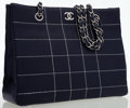 Luxury Accessories:Bags, Chanel Navy Blue Quilted Leather Shoulder Bag with Silver Hardware....
