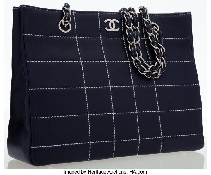 b0d88036b4c3f2 Luxury Accessories:Bags, Chanel Navy Blue Quilted Leather Shoulder Bag with  Silver Hardware.