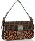 Luxury Accessories:Bags, Fendi Leopard Ponyhair, Classic Monogram Canvas & Brown Lizard Baguette Bag. ...