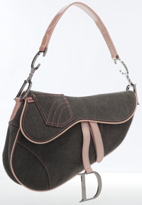 Christian Dior Pink & Gray Denim Saddle Bag with Silver Hardware