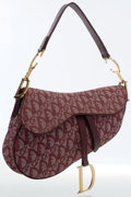 Luxury Accessories:Bags, Christian Dior Burgundy Diorissimo Canvas Saddle Bag. ...