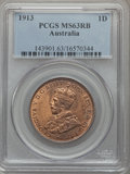 Australia, Australia: George V Penny 1913 MS63 Red and Brown PCGS,...