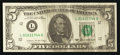 Error Notes:Ink Smears, Fr. 1978-L $5 1985 Federal Reserve Note. Choice CrispUncirculated.. ...