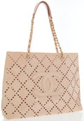 Luxury Accessories:Bags, Chanel Beige Patent Leather Perforated Tote Bag. ...