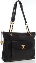 Luxury Accessories:Bags, Chanel Black Caviar Leather Shoulder Bag with Gold Hardware. ...