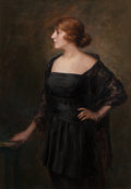 Fine Art - Painting, European:Modern  (1900 1949)  , Continental School (20th Century) . Portrait of the Lady of the House. Oil on canvas. 53-5/8 x 37-1/2 inches (136.2 x 95...