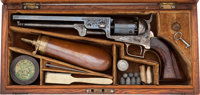 Sam Colt Presentation Cased and Engraved Model 1851 Squareback London Navy to Park Pittar of Charles, Nephew & Co...