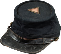 Very Fine Untouched Condition Civil War Union Officer's Kepi with Original 4th Corps Badge Mounted on Top, Circa 1863/64...
