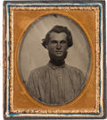 Photography:Ambrotypes, Confederate P.O.W. William H. Randle 1/6 Plate Ambrotype withManuscript.... (Total: 2 Items)