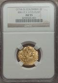 Colombia, Colombia: Philip V gold Cob 2 Escudos ND (1714-15) AU55 NGC,...