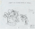 "Animation Art:Production Drawing, Ren and Stimpy Show ""Royal Canadian Kilted Yaksmen""Production Drawing Animation Art (Spumco, 1993)...."