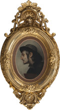 Decorative Arts, Continental:Other , A CONTINENTAL GILT FRAMED OIL PORTRAIT OF A YOUNG MAN, circa 1900.22 x 12-1/2 inches (55.9 x 31.8 cm) (frame). FROM THE E...