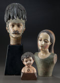 Miscellaneous, THREE FOLK ART CARVED WOOD AND PAINTED HEADS, circa 1900. 24 incheshigh (61.0 cm) (highest, including base). FROM THE EST... (Total: 3Items)