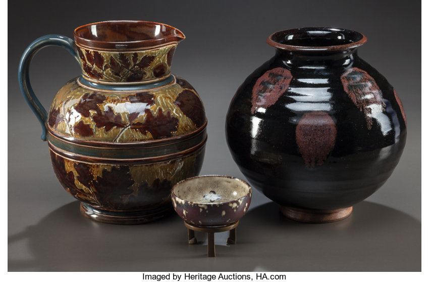 Two Charles Vyse Pottery Vases And A Royal Doulton Pottery Lot