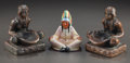 Miscellaneous, THREE AMERICAN ARTS AND CRAFTS ITEMS, A CERAMIC ASHTRAY AND TWOMETAL SITTING AMERICAN INDIAN BOOK ENDS, circa 1930. 6 inche...(Total: 3 Items)