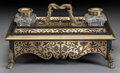 Decorative Arts, French:Other , A FRENCH BOULLE WORK EBONIZED WOOD AND BRASS INLAID ENCRIER, circa1900. 5 x 15 x 11-1/2 inches (12.7 x 38.1 x 29.2 cm). ... (Total: 2Items)