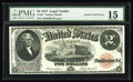 Error Notes:Large Size Errors, Fr. 57 $2 1917 Legal Tender PMG Fine 15. A thin face only gutter that measures over two inches in length is found on this Er...
