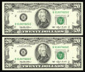 Error Notes:Blank Reverse (<100%), Fr. 2079-B $20 1993 Federal Reserve Notes. Two Consecutive ExamplesChoice Crisp Uncirculated.. This pair has suffered from ... (Total:2 notes)