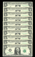 Error Notes:Inking Errors, Fr. 1914-E $1 1988A Federal Reserve Notes. Gem Crisp Uncirculated.. A run of 10 consecutive notes with the faces normally pr... (Total: 10 notes)