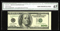 Error Notes:Miscellaneous Errors, Fr. 2175-J $100 1996 Federal Reserve Note. CGA Gem Uncirculated 67.. This Benjamin's second printing was shifted to the left...