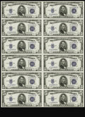 Small Size:Silver Certificates, Fr. 1654 $5 1934D Silver Certificate. Uncut Sheet of 12. Gem Crisp Uncirculated.. Serial number embossing is visible on ever...