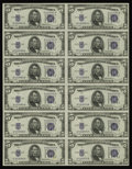 Small Size:Silver Certificates, Fr. 1654 $5 1934D Silver Certificate Uncut Sheet of 12. Gem Crisp Uncirculated. This lovely uncut sheet is one of 26 listed ...