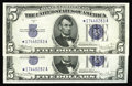 Small Size:Silver Certificates, Fr. 1654*/Fr. 1653* $5 1934D Wide l/1934C Silver Certificates. Reverse Changeover Pair. Choice Crisp Uncirculated.. This rev... (Total: 2 notes)