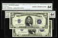 Small Size:Silver Certificates, Fr. 1654*/Fr. 1653* $5 1934D Wide l/1934C Silver Certificates. Reverse Changeover Pair. CGA Choice Uncirculated 64.. This is... (Total: 2 notes)