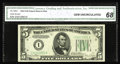 Fr. 1960-I $5 1934D Federal Reserve Note. CGA Gem Uncirculated 68. This gorgeous example comes from the lowest printed d...