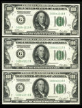 Fr. 2151-G $100 1928A Federal Reserve Notes. Extremely Fine-About Uncirculated. A run of three consecutive notes, all of...