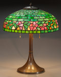Miscellaneous:Lamps & Lighting, AMERICAN LEADED GLASS AND COPPER TABLE LAMP, circa 1910. 23 incheshigh x 18 inches diameter (58.4 x 45.7 cm). FROM THE ES... (Total:2 Items)