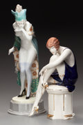 Ceramics & Porcelain, TWO GOLDSCHEIDER-STYLE ART DECO CERAMIC FIGURES, circa 1930. Marks to standing figurine: 5060, 56, 35. 19 inches high (4... (Total: 2 Items)