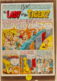 """EC Panic #2 """"The Lady or the Tiger?"""" Complete Story Silverprint Proof Group (EC, 1954).... (Total: 7 Items)"""