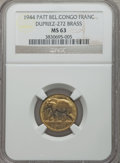 Belgian Congo, Belgian Congo: Belgian Colony Pattern Franc in brass 1944 MS63NGC,...