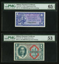 Military Payment Certificates:Series 611, Series 611 5¢ and $1 Replacements PMG Graded. . ... (Total: 2 notes)