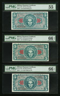 Military Payment Certificates:Series 641, Series 641 $5 Three Different Printings PMG Graded.. ... (Total: 3notes)