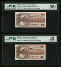 Military Payment Certificates:Series 661, Series 661 25¢ Replacement Two Different Printings PMG Graded. . ... (Total: 2 notes)