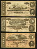 Confederate Notes:1864 Issues, T67 $20 1864;. T68 $10 1864;. T69 $5 1864.. ... (Total: 3 notes)