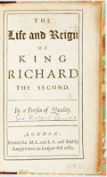 Books:Biography & Memoir, Howard, Robert. The Life and Reign of King Richard theSecond. London: M.L. & L(angly) C(urtis). 1681. 8vo.A4,B-Q8....