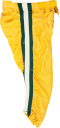 Football Collectibles:Uniforms, 1992 Brett Favre Practice/Training Camp Worn, Signed Green Bay Packers Pants....