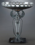 Silver Holloware, Continental:Holloware, A WURTTEMBERGISCHE METALLWARENFABRIK EGYPTIAN REVIVAL SILVER-PLATEDAND GLASS TAZZA, Geislingen, Germany, circa 1910. Marks:... (Total:2 Items)