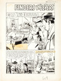 "Original Comic Art:Splash Pages, Tony DiPreta Crime Does Not Pay #132 ""Finder's Weepers""Splash Page 1 Original Art (Lev Gleason, 1954)...."