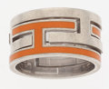 Luxury Accessories:Accessories, Hermes Orange Enamel & Silver Mouve Ring. ...