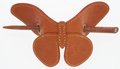 Luxury Accessories:Bags, Louis Vuitton Brown Leather Butterfly Hairpin. ...